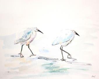 Birds Original Watercolor & Liner // Aquarell Vögel Signiert