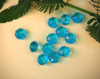 12 transparent turquoise blue crystal glass beads with facets, 10x8mm