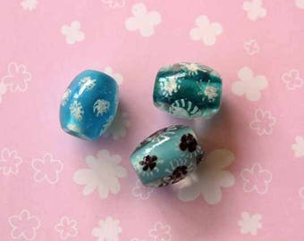 Set of 3 glass beads, blue tone with flowers inside style oval 20x15mm