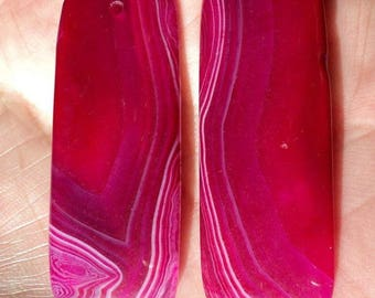 Agate, set of 2 cabochon 50 x 20 x 5 mm with hole