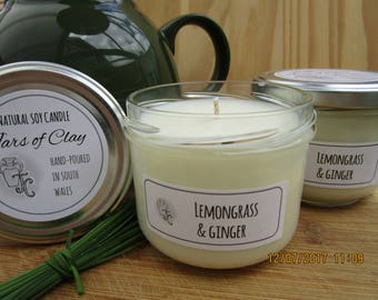 Lemongrass & ginger scented soy candle