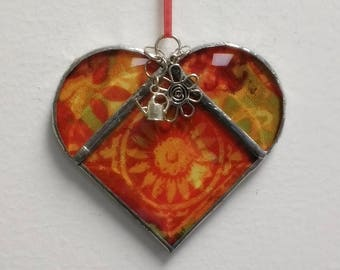 Stained Glass Heart Orange Flower ~ Two-Sided ~ 3.5 Inches with Heart and Watering Can Charms
