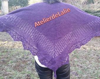 Shawl, scarf, purple silk Alpaca hand knitted scarf