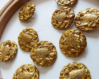 Set of 2 beautiful buttons in gold tone Christian Dior vintage trophy Warrior, armor Knight