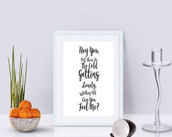 Hey You Lyrics Quote Art