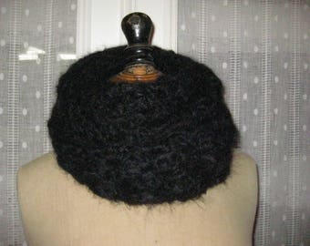 Collar black mohair/angora crocheted