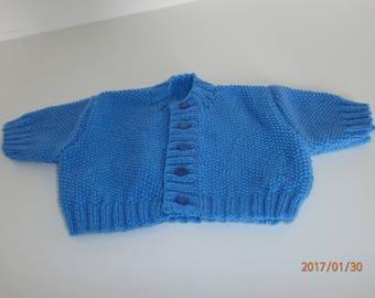 Blue premature Cardigan in MOSS stitch