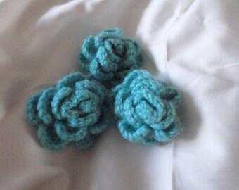set of three crochet flowers