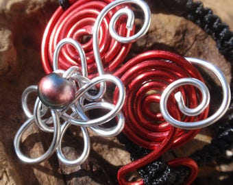 Flower Silver Aluminum and Red system shamballa bracelet adjustable black cord. Pearl, Original, youthful.