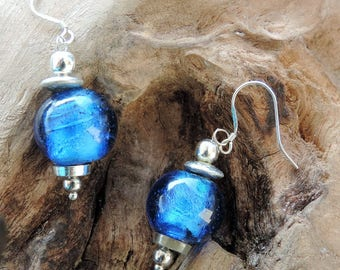 Midnight Blue blown glass beads earrings. Silver bail.