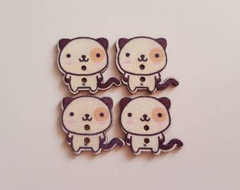 Set of 5 wooden Panda buttons