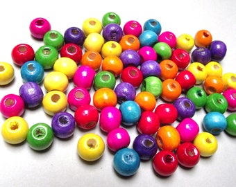 200 colorful 8 mm wood beads.
