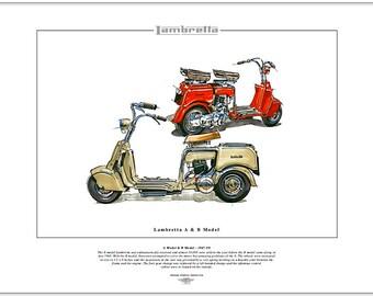 LAMBRETTA A Model & B Model Scooter 1947-50 - Fine Art Print - Innocenti Italian