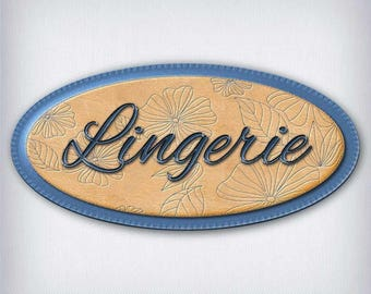 Leather and denim 053 lingerie door sign decal