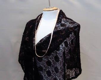 Stole, shawl lace, black shawl, black shawl