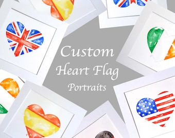 Custom flag artwork, original watercolour, personalised flag, flag heart artwork, choose any flag, custom watercolor,flag wall art,flag gift