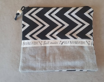 wallet or makeup linen pouch