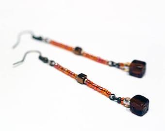 Studs earrings orange iridescent #1