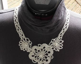 White Pearl crochet beads necklace