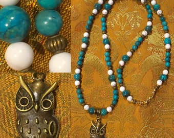 natural stones and OWL pendant necklace