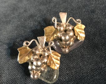 Vintage Mexican Sterling Silver Grape Cluster Earrings
