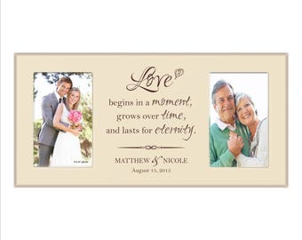 """Personalized Wedding Frame, Custom Anniversary Frame, """"Love begins in a moment, Grows over time, and lasts for eternity"""" Great Gift"""