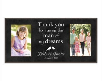 """Parents of the Groom Gift, Personalized Double Photo Frame, Custom Picture Frame, """"Thank you for raising the man of my dreams"""" Wedding Gift"""