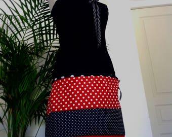 Black - Red polka dot Cotton Jersey skirt/strapless dress