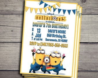 Minions Invitation, Minions Birthday Invidation, Minions Birthday Party Invite, Minions Printable File