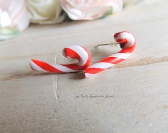 Pearl Earrings puce Barley Sugar