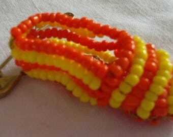 yellow and orange espadrille brooch