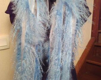 Sky blue color Mongolia lamb wool scarf
