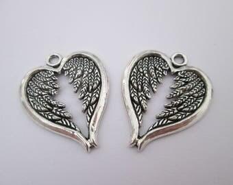 2 breloque ailes en métal argenté 30 x 24 mm