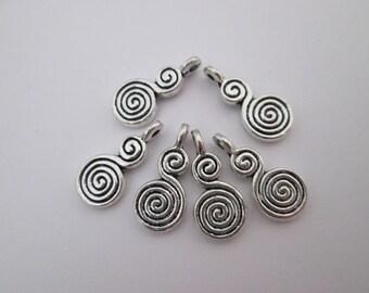 6 breloques spirale double 17 x 8 mm en métal argenté