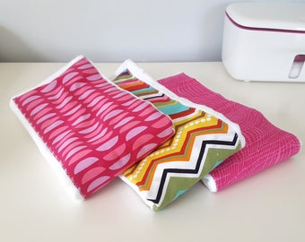 Burp Cloth Set of 3 | Bright Pink Burp Cloths | Baby Shower Gift | Baby Girl Baby Burp Cloth