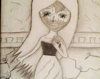 Black and white zombie girl pencil on canvas
