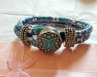 Bracelet NOOSA AREUS/blue/leather/Crystal/star/flower/white/double/gift/jewelry/woman/girl/exchangeable/button/cuff/wrist/bracelet.