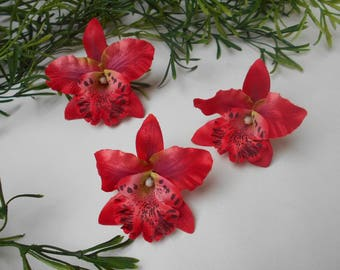 Artificial red Orchid - 8cm / 8cm
