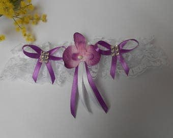 Purple and white garter with Orchid purple