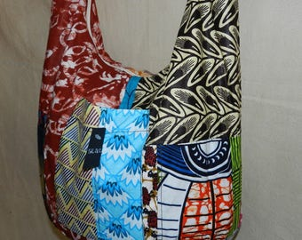 Shoulder backpack in wax fabric African with zip closure and 3 pockets Ref: SbL-212