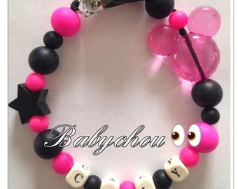 Sweet pink and black silicone except name bead