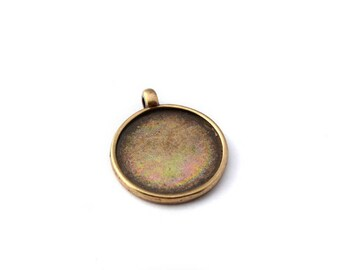 Support cabochon pendant tray 20 mm round