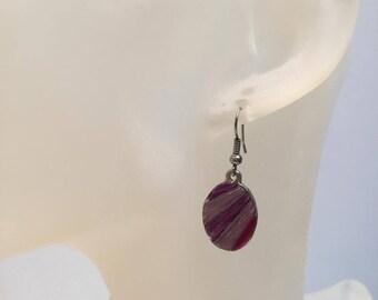 Purple enamel charm earrings
