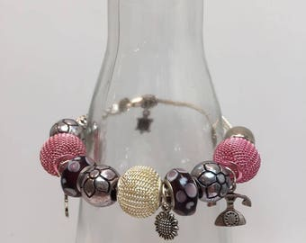 Bracelet pandora style jewelry pink pearls
