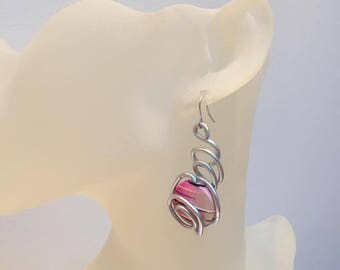Pink earrings aluminum silver plated wire and wood