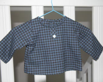 Small blue and grey brushed cotton shirt