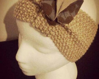 Light brown headband, fabric Butterfly