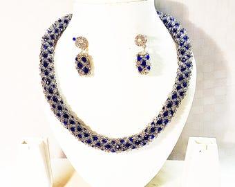 Deep blue crystal & silver jewellery set