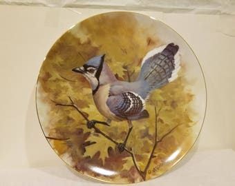 Bluejay Collector Plate Series 1982 Wild Wings by Owen Gromme-Limited Edition (10,000) Plate #2570