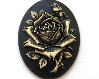 Gothic black rose cameo cabochon (29x38mm)